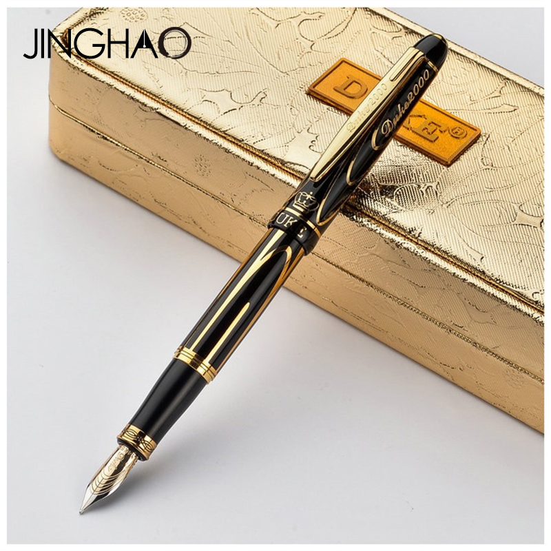 Luxury 8K Gold Nib Fountain Pen 0.5mm Golden Clip Ink Pen Business Student Gift Writing Stationery with a High-end Gift Case black golden clip full metal fountain pen wingsung 572 hooded nib luxury student writing business gift pens with box stationery