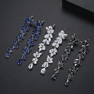 Image 2 - Bilincolor fashion trendy sveglio cubic zirconia ramo da sposa da sposa lungo nero orecchino di goccia per le donne