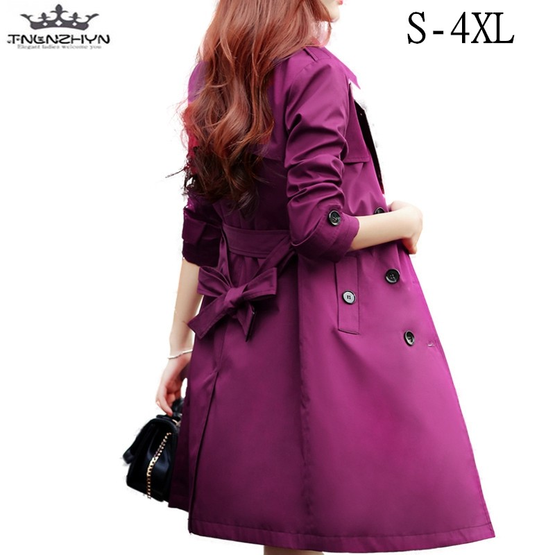 tnlnzhyn 2019 Spring Autumn Women   Trench   Coat Lapels Long Sleeves   Trench   Coat Ladies Casual Outerwear Coats Y422