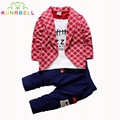 New Fashion Spring Children Clothes Toddlers Cotton Plaid Suit Coat + Pants 2pcs Set For Boys Gentleman Kids Clothing Sets Sale