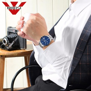Image 5 - NIBOSI reloj azul para hombre, cronógrafo de lujo, militar, analógico, de cuarzo, Masculino