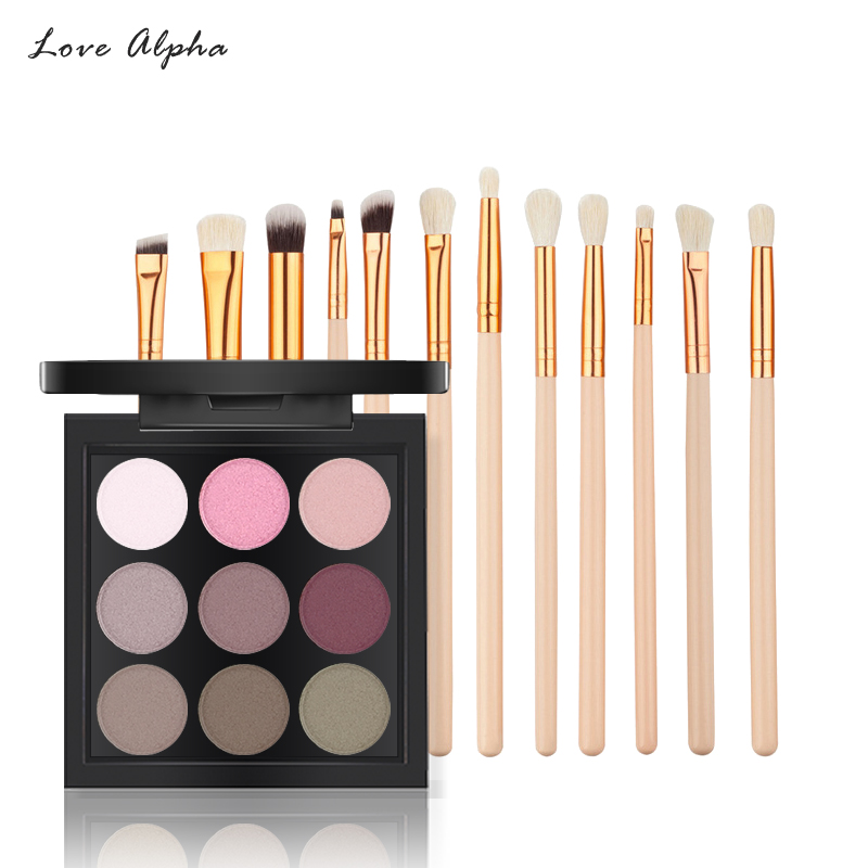 LOVE ALPHA Makeup Set 12 Pcs Makeup Brushes Set Nude 9 Color Eye Shadow Palette Make Up Tools 2018 New Eyes Cosmetics Kit