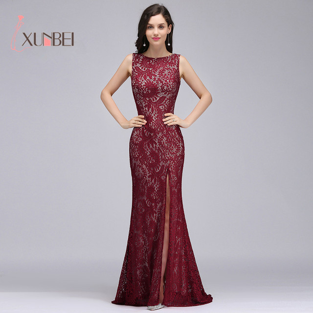 Burgundy Sleeveless Lace Mermaid Long Evening Dresses Split Backless vestido  longo Formal Party Prom Dresses vestido de festa 229686b4d99d