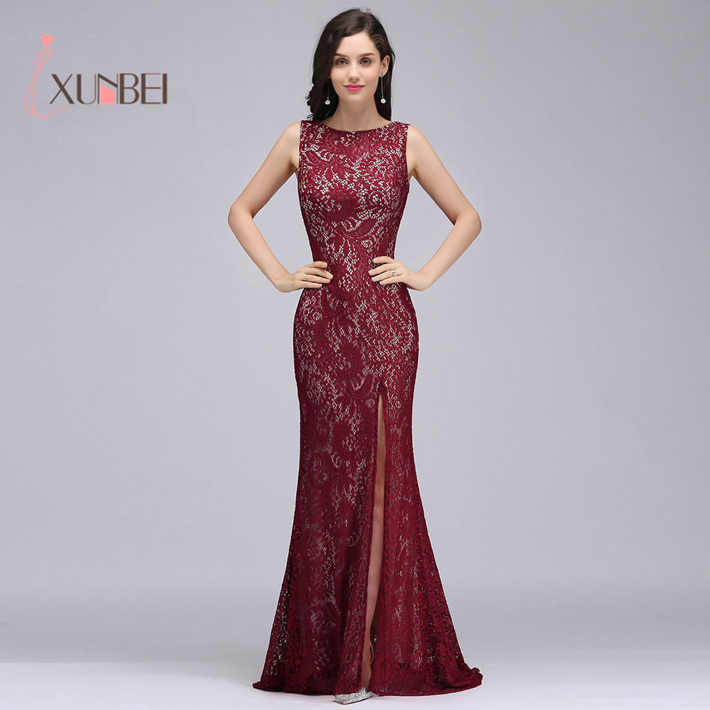 Burgundy Sleeveless Lace Mermaid Long   Evening     Dresses   Split Backless vestido longo Formal Party Prom   Dresses   vestido de festa