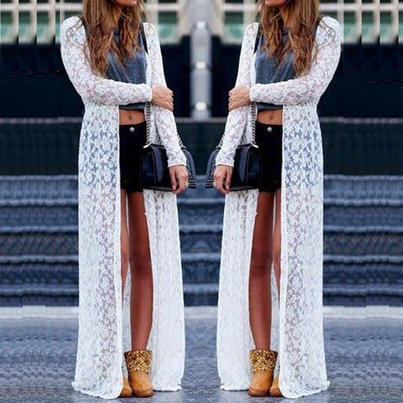 Stylish Hot Sale Women's Solid Long Cardigan Summer Casual Lace Bikini Cover Up Swimwear Bathing Beach Robe Long Dress S-L