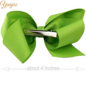 Image 3 - 30pcs/lot 4 Grosgrain Ribbon Hair Bows Hair Clips For Girls 2020 Solid Hairpins Hair Bow Women Headwear Kids Hair Accessories