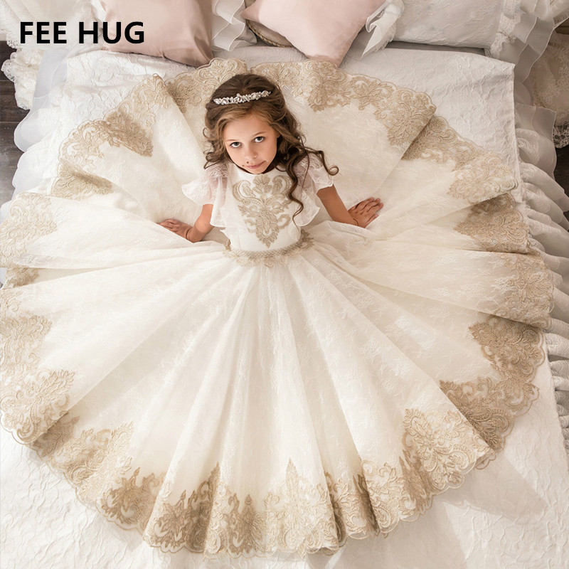 Fee Hug Princess Girls Wedding Dress Floor Length Vintage