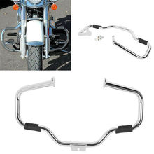 Motorcycle Mustache Engine Guard With Rubber Pegs For Harley FL SOFTAIL 00-17 Accessories