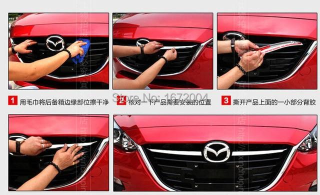 Chrome Front GrilleGrill Abdeckung Trim Molding Für 2014Mazda3 Axela Limousine Fließheck
