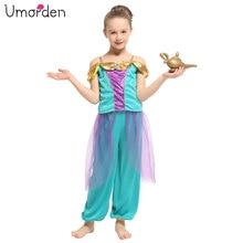 Umorden Kids Children Arabian Jasmine Princess Costumes for Girls Dance Dress Carnival Halloween Party Fantasy Cosplay