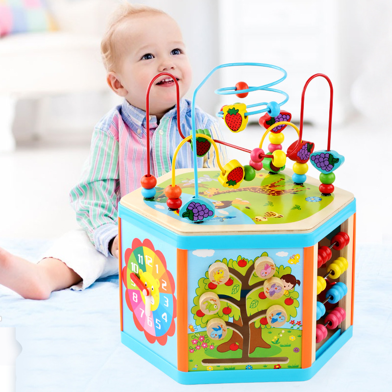 Kids Toys Montessori Wooden Toys 6 Side Intelligence Box Training Game Puzzle Math Toys Baby Early Educational Toys For Children