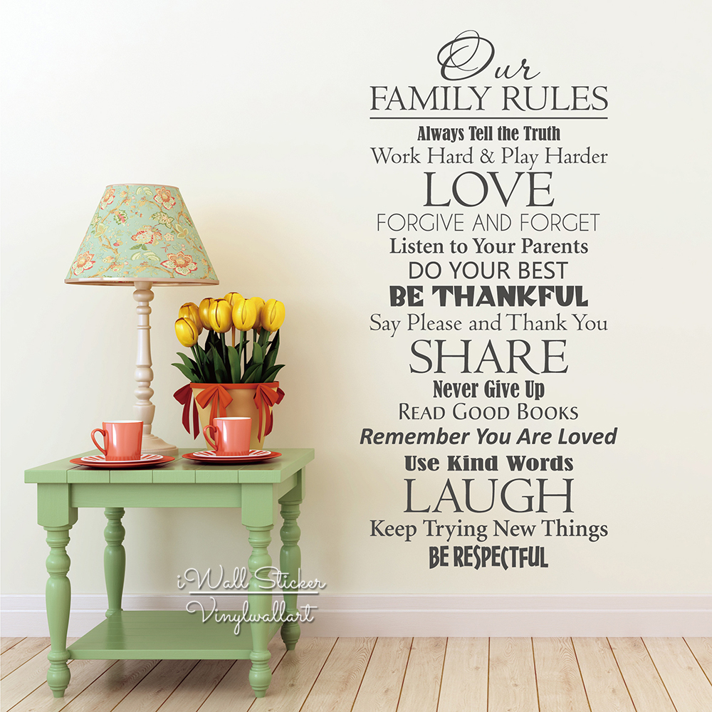 Free Shipping Family Is Vinyl Wall Lettering Quote Wall: Our Family Rules Quotes Wall Decal Home Quote Wall Sticker