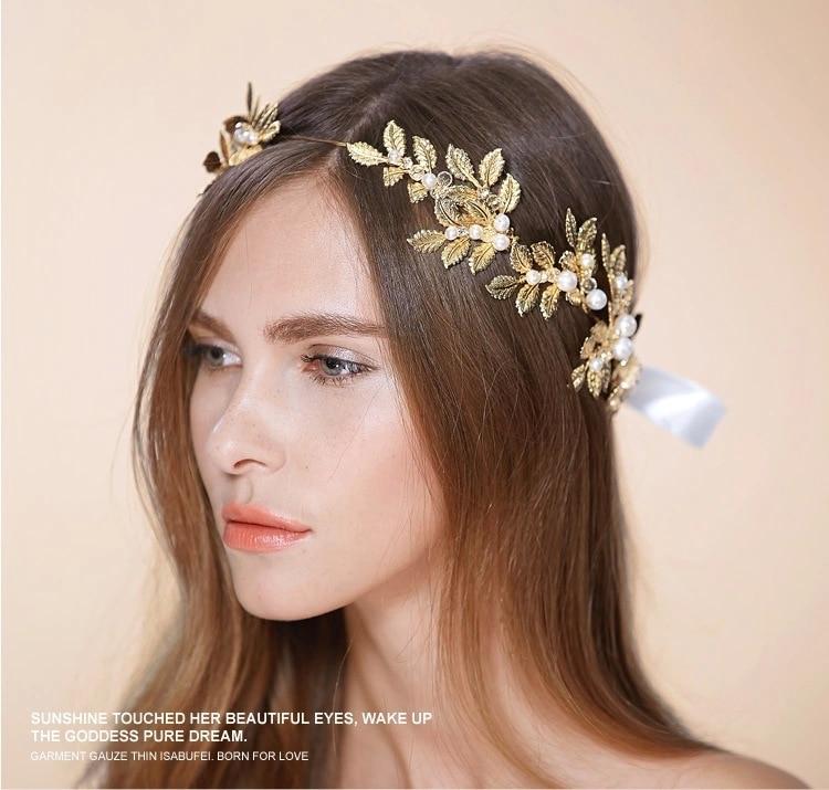 Grecian Wedding Hairstyles: Greek Goddess Headpiece Gold Laurel Leaf Headband Grecian