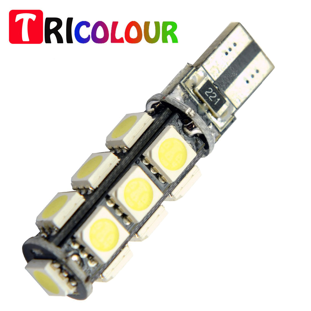 TRICOLOUR Canbus led T10 13smd 5050 LED car Light W5W 194 168 Instrument Panel Courtesy Glove Box Light Bulb for Cars #TB46