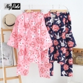 New spring and summer 100% cotton double gauze long sleeve pajamas women lovely rabbit sleepwear Japanese kimono sets for women