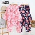 Nova primavera e verão 100% algodão gaze dupla conjuntos de manga longa pijamas mulheres adorável coelho sleepwear quimono Japonês para as mulheres