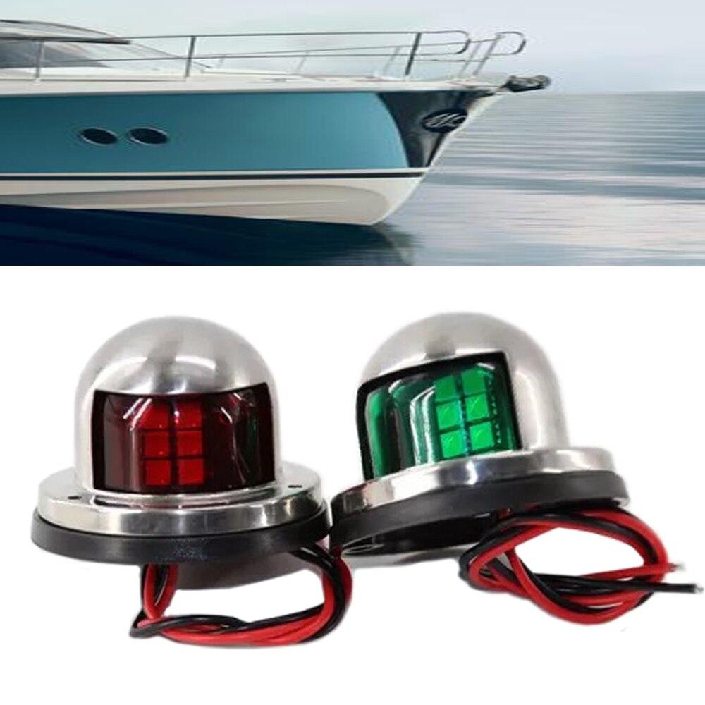 JEAZEA 1 Paire En Acier Inoxydable 12 V LED Voile Signal Lumineux Lampe Arc Navigation Lumière Rouge Vert pour Marine Bateau Yacht