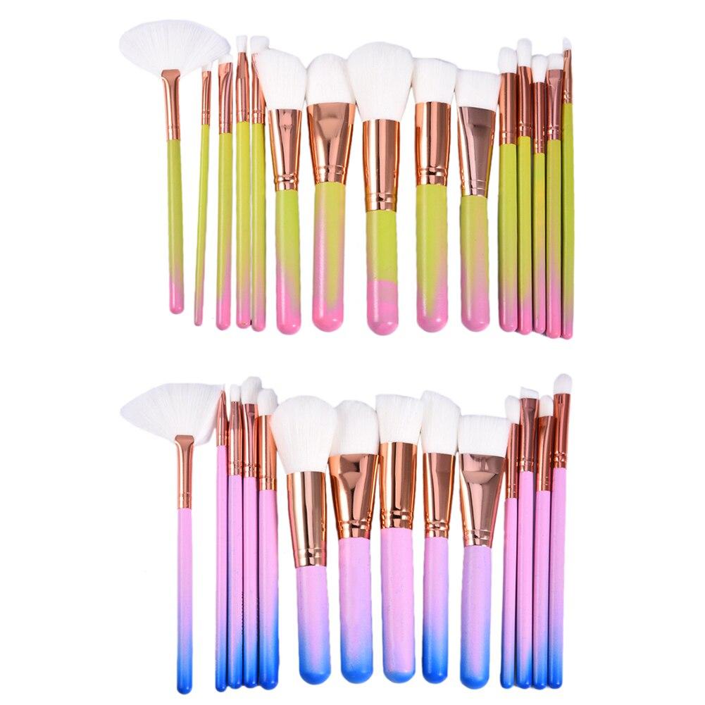 15 PCS Rose Gold Aluminum Tube Makeup Brushes Set Tools Make-up Toiletry Kit Make Up Brush Set Case Cosmetic Foundation Brush