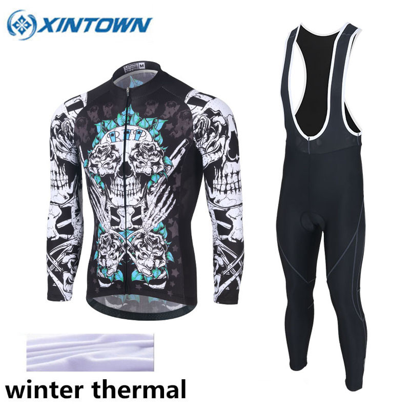 XINTOWN 2017 Long Sleeve Winter Thermal Fleece Cycling Jersey Warm Winter Bike Cycling Clothing Bicycle Bib Pants Set 3 Colors teleyi men cycling jersey bike long sleeve outdoor bike jersey bicycle clothing wear breathable padded bib pants set s 4xl