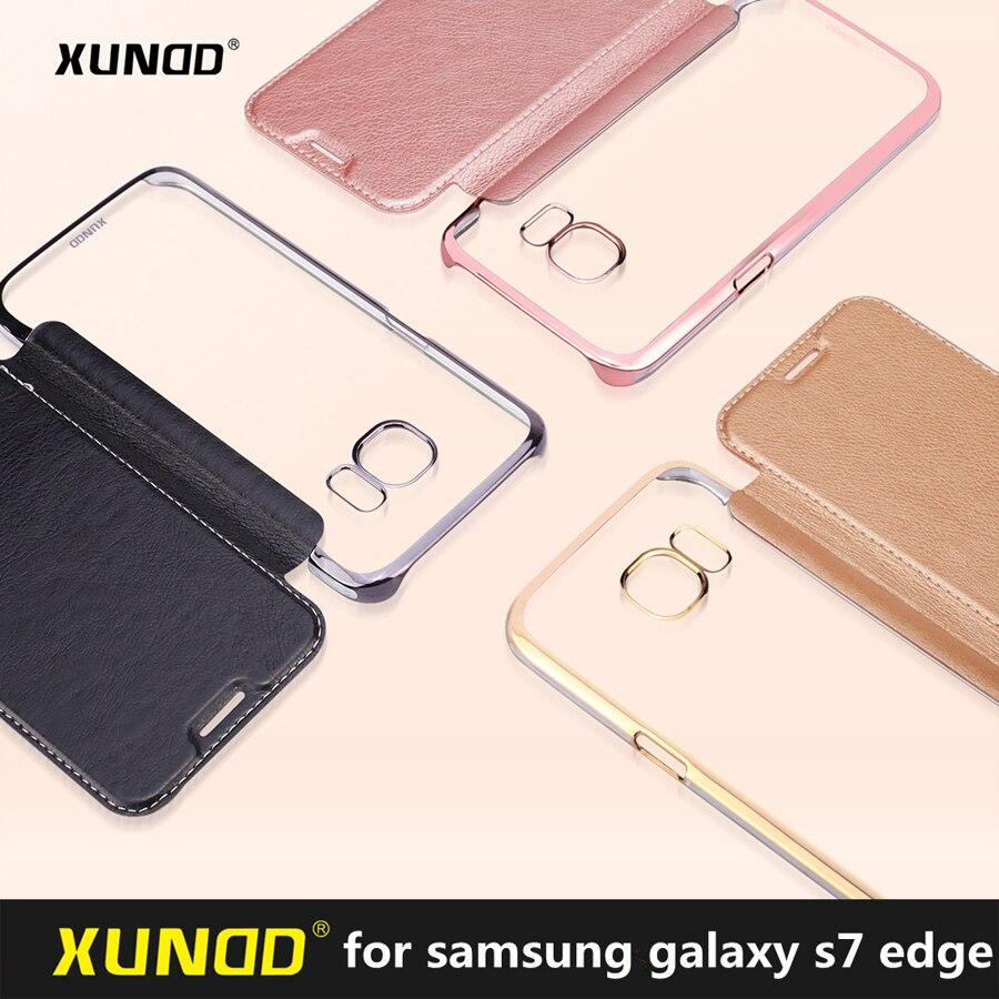imágenes para Borde protector XUNDD Cubierta Del Tirón de Lujo para Samsung Galaxy S7 caso caja del teléfono con ranura para tarjeta para la Galaxia S7 envío gratis