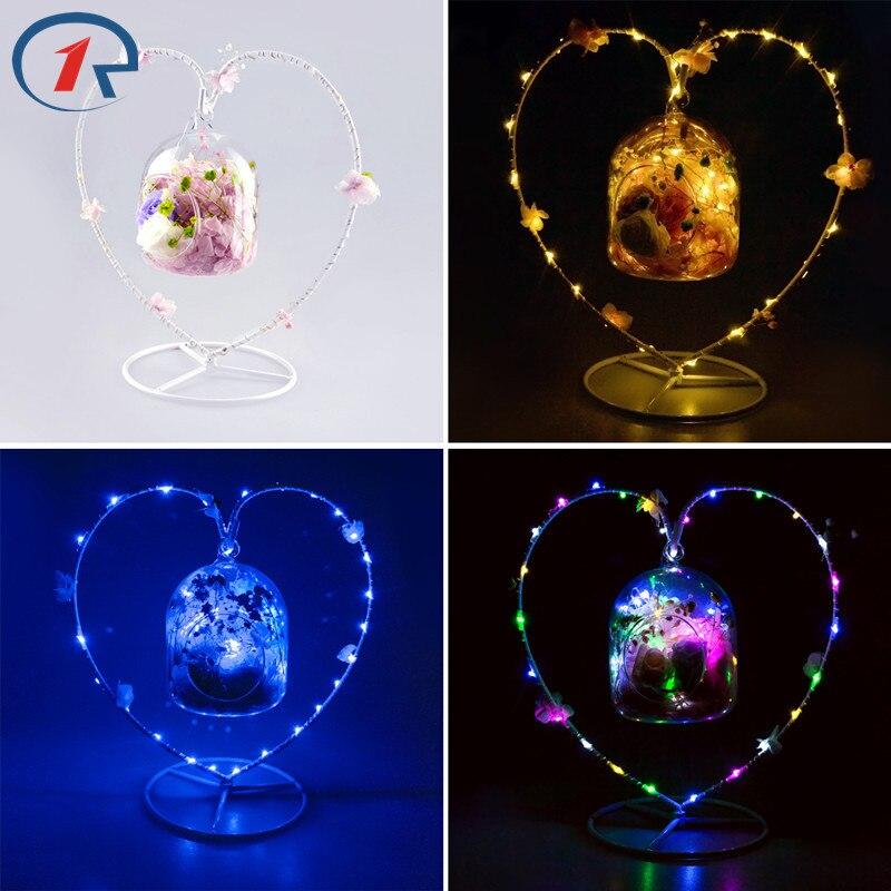 ZjRight Led fairy String Light iron frame dried <font><b>flower</b></font> petal sachet Battery glass ball decor Help sleep table night hanging lamp