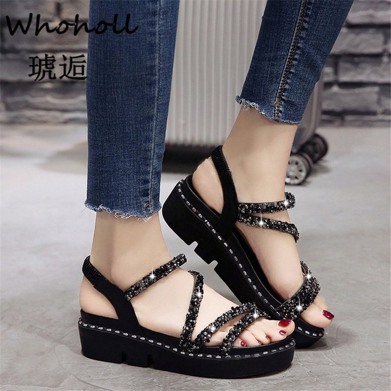 Whoholl 2019 Women Flat Sandals Shoes Women Woven Wedge Sandals Shoes Ladies Beach Summer Slingback Sandals Flipflops Shoes 7 5 in Middle Heels from Shoes