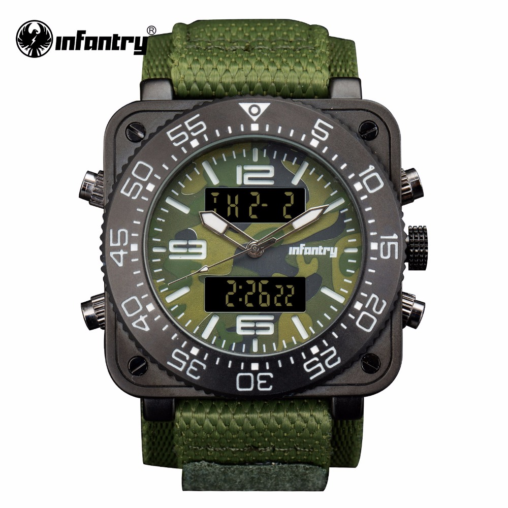 INFANTRY Mens Luxury Japanese Quartz Watch Camoufle Military Green Army Watch Relogio Masculino Water Resistant Digital Sports military glow in the dark water resistant quartz wrist watch army green 1 x sr626sw