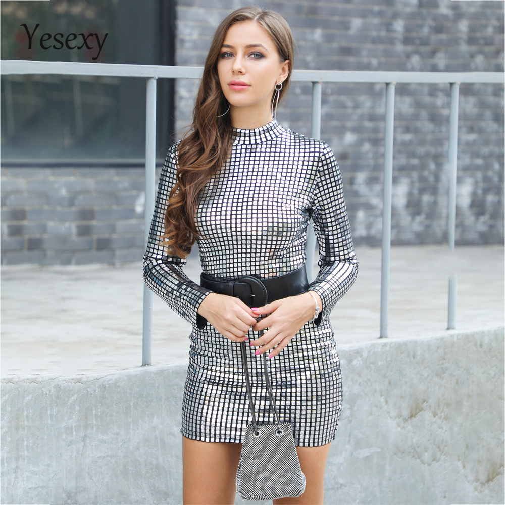 Yesexy 2019 Women Sexy O Neck Long Sleeve Sequin Dresses Female Elegant Mini Party Dress Vestdios VR18753