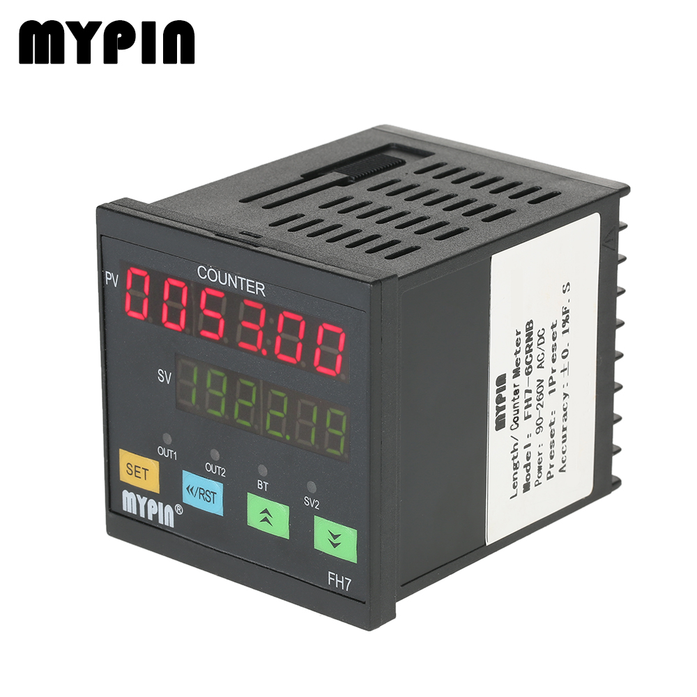 MYPIN 90-260V AC/DC 6Digital Counter Multi-functional Length Counter Intelligent machine hours Length Meter Relay Output PNP NPN 90 260v ac dc digital timer 4 digit display alarm clock countdown time counter chronograph relay output 1 alarm