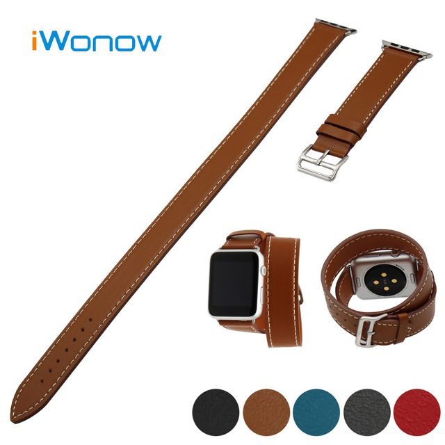 Genuine Leather Watchband for 38mm 42mm iWatch Apple Watch / Sport / Edittion Band Wrist Strap Bracelet Double Tour + Adapter