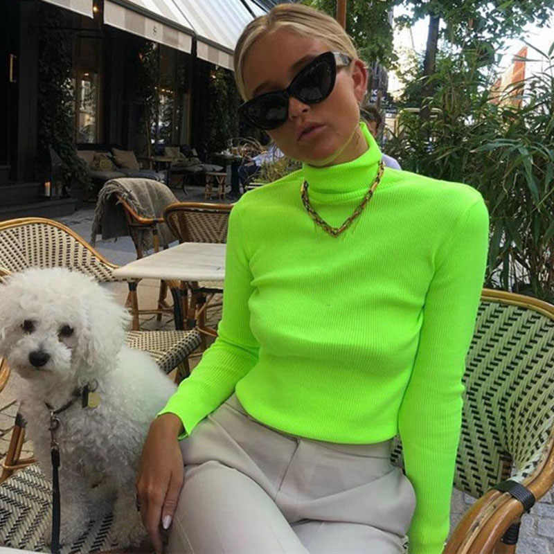 LaiCloAng Long Sleeve Spring Casual T shirt Women Fashion Turtleneck Pullovers Knitted Women Tops Green Slim Women T-shirt 2019