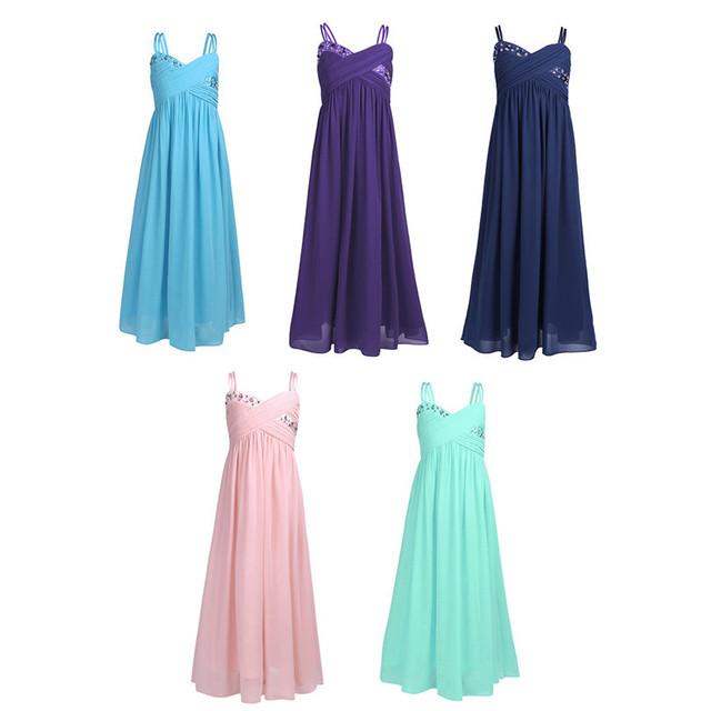 Rhinestones Pleated Chiffon Girls Formal Dresses