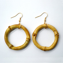 Hot Sale Large Real Bamboo Joint Hoop Earrings Hip-Hop Ladies Big Circle Studs Street Dance Club