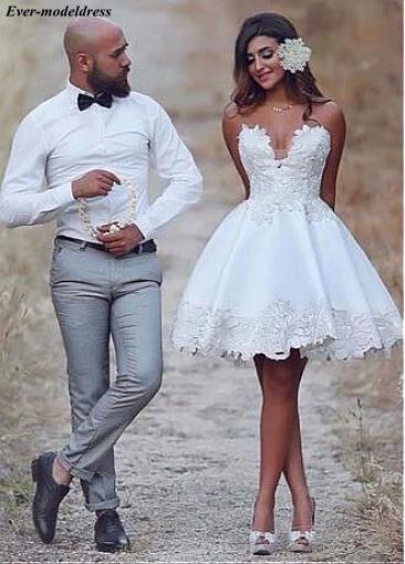 Satin Wedding Dresses Short Knee Length A-Line Lace Appliques Sweetheart Zipper Back Cute Bridal Gowns Vestido De Noiva Cheap