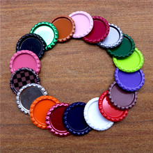 15pcs 25mm Colored Round Flattened Bottle Caps Flat Bottlecaps for DIY Hairbow Crafts Hair Bows Necklace Jewelry Accessories