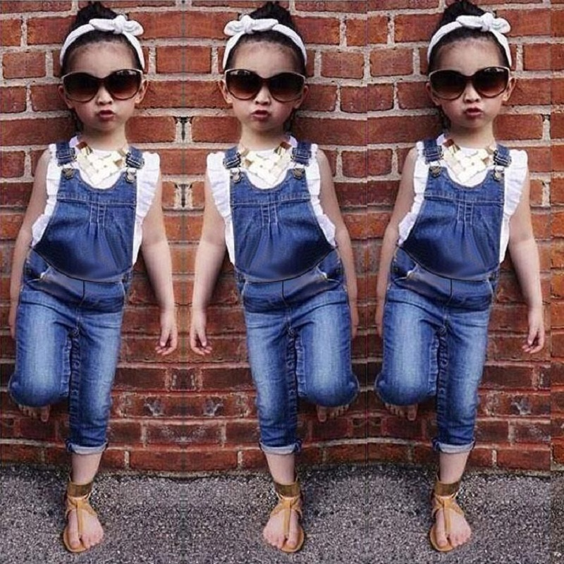 5c7a044d6b4 Summer 2016 Baby Girls Cotton T-Shirt + Denim Jeans Overalls Pants Two  Pieces Suits