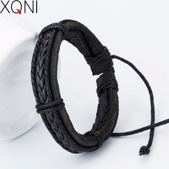 New arrived Fashion Charm Leather Men's Bracelets Popular boys Alloy Bangle DIY Handmade Cross Bracelets !