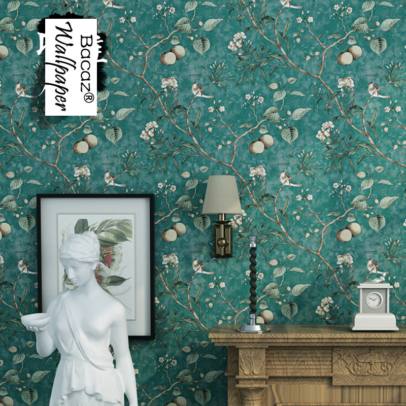 American Style Vintage Rustic 3d Murals Wallpaper Rolls Fruits Apples Flower and Birds 3D Wall paper roll 3d wallcoverings акриловые обои hits wallcoverings vintage luxury sz001534
