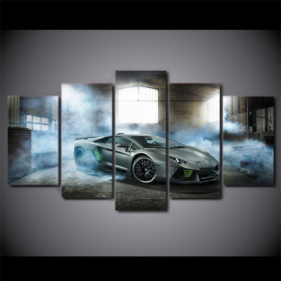 Modern Pictures Modular Canvas Poster HD Printed Wall Art 5 Pieces Home Decor Smoke Gray Luxury Sports Car Painting Frame PENGDA