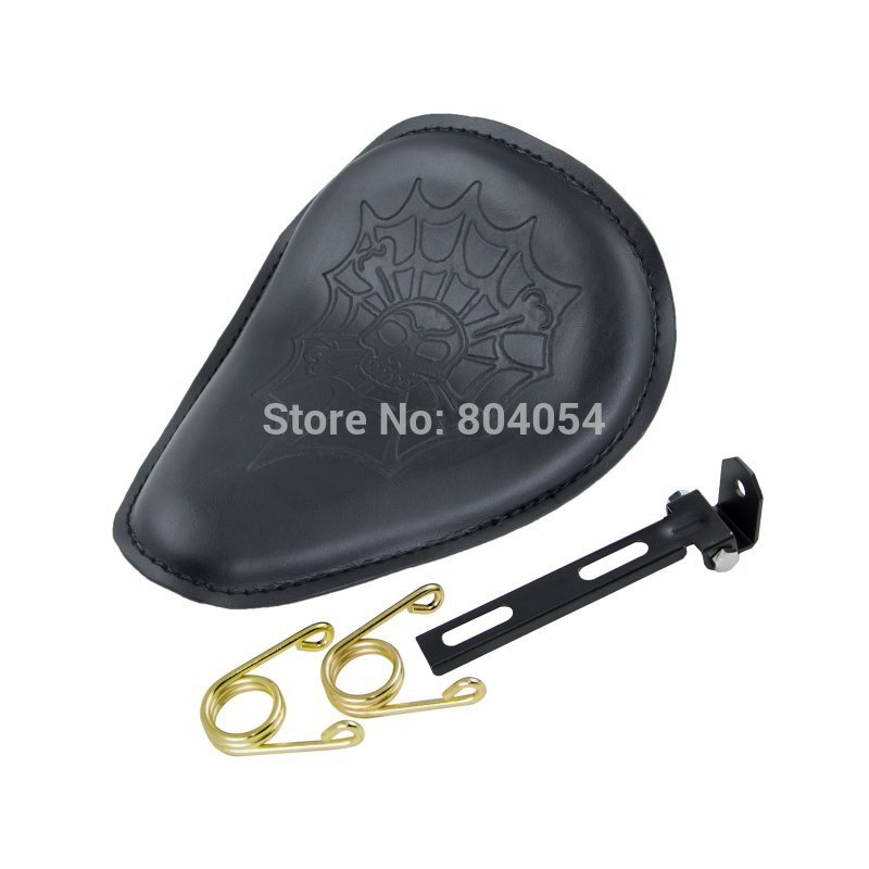 ФОТО Motorcycle  Leatheroid Spring Solo Motorcycle Seat For Harley Davidson Fat Boy Streel Glide New