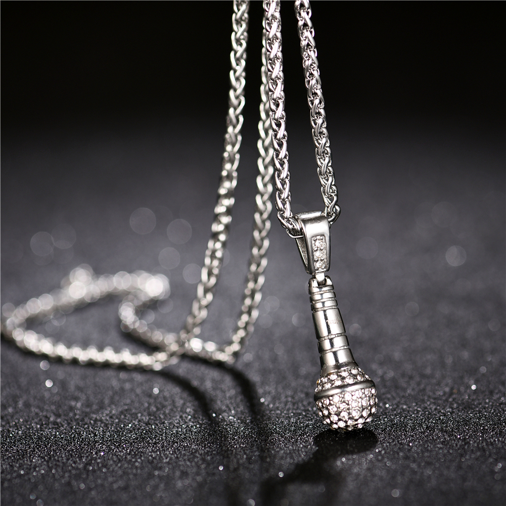 Rock Punk Microphone Pendant Necklace Men/Women Stainless Steel Micro Pave Cubic Zircon Gold Color Plated
