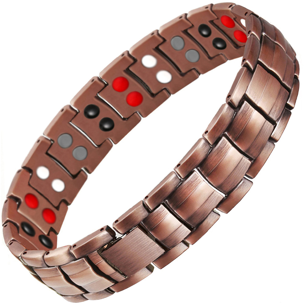 Drop-Shipping Double Row 4 IN 1 Bio Elements Energy Magnetic Bracelet Men's Fashion Healing 99.95% Pure Copper Bracelets Bangles