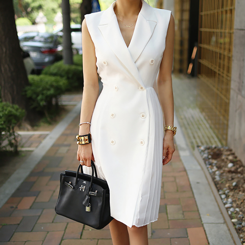 Elegant Wear to Work vestidos Business Party Bodycon Office Lady Women pleated Dress