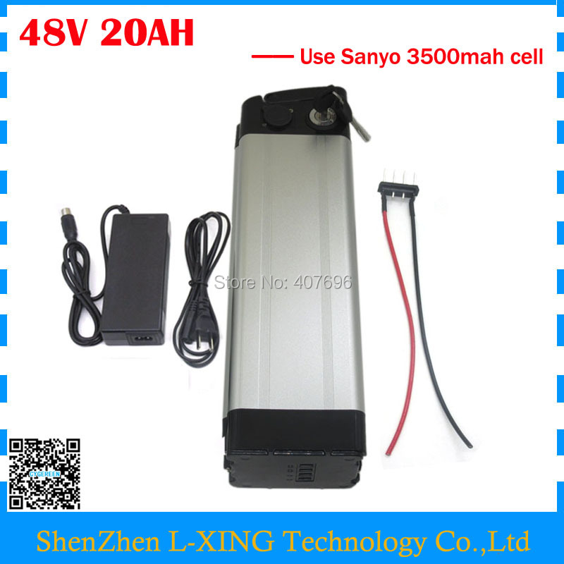 Free customs duty 750W 48v 20ah lithium ion battery electric bike battery 48V 20AH silver fish use sanyo GA cell 20A BMS bottom discharge 48 volt 750w bafang electric bike battery 48v 8ah lithium ion battery pack silver fish akku with usb port