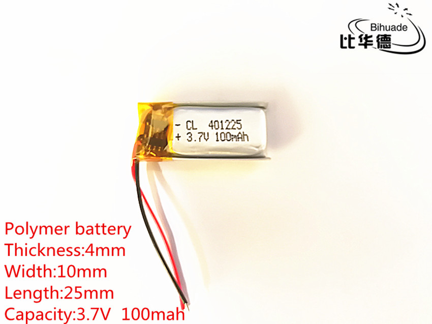 10pcs 3.7V,100mAH,<font><b>401025</b></font> PLIB; polymer lithium ion / Li-ion battery for GPS,mp3,mp4,mp5,dvd,bluetooth,model toy mobile bluetooth image
