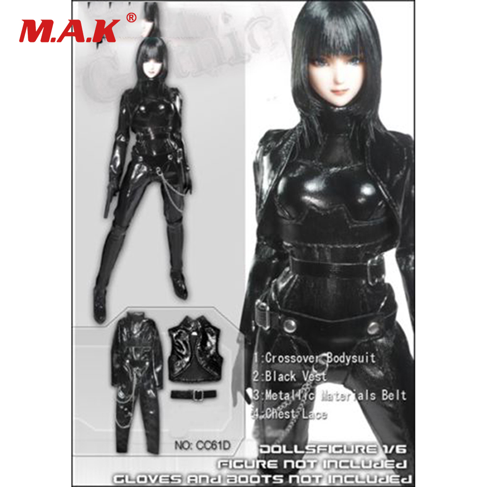 1/6 Scale Female Clothes Cool Sexy Black Leather Tight Suit For 12'' Women Action Figures Bodies 1 6 scale the game of death bruce lee head sculpt and kungfu clothes for 12 inches figures bodies