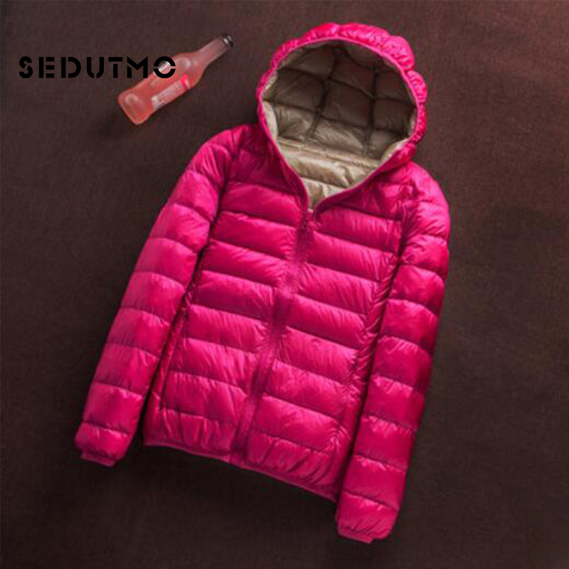 SEDUTMO Winter Plus Size 3XL Duck   Down     Coat   Women Ultra Light Hoodie Jackets Two Side Wear   Coat   Spring Puffer Jacket ED657