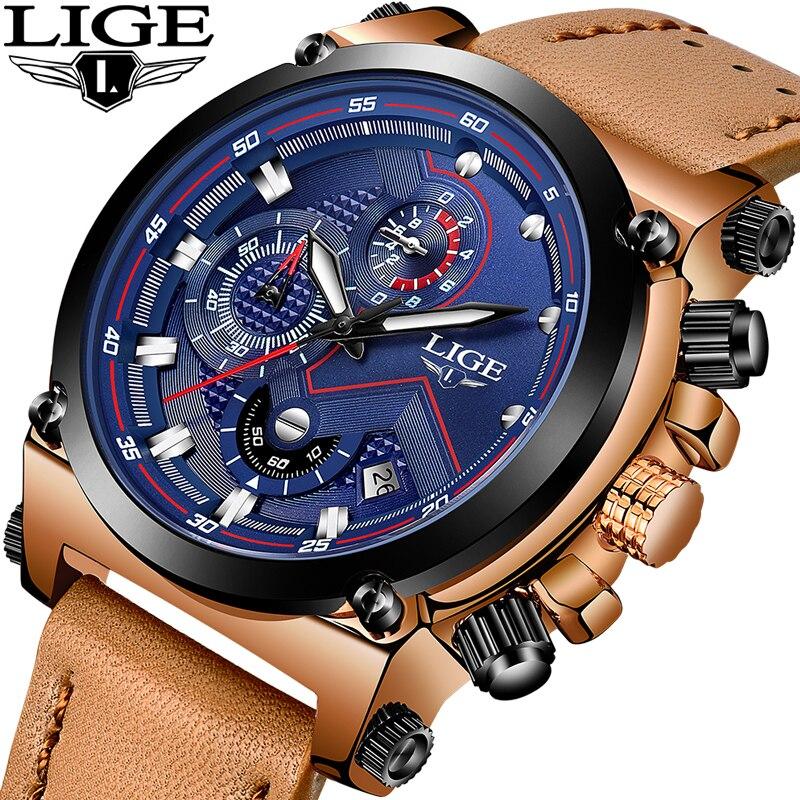 LIGE Sport Chronograph Herren Uhren Top Brand Luxus Casual Leder Quarzuhr Männer Militärische Wasserdichte Uhr Relogio Masculino