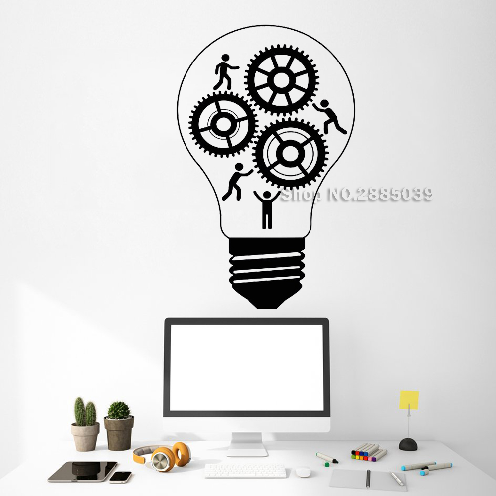 Ingenious New Vinyl Wall Decals Teamwork Light Bulb Idea Business Graphics Office Inspire Art Stickers Removable Adesivo De Parede Lc528 Suitable For Men And Women Of All Ages In All Seasons Home & Garden Home Decor