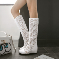 Women Cut Out Closed Toe Knee High Summer Boots Cutout Lady Wedges Knight Long Boots Increasing